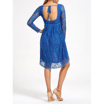 Asymmetrical Empire Waist Long Sleeve Lace Dress - BLUE M