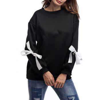 Crew Neck Lace Up Bowknot Sweatshirt