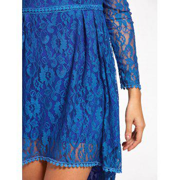 Asymmetrical Empire Waist Long Sleeve Lace Dress - BLUE L