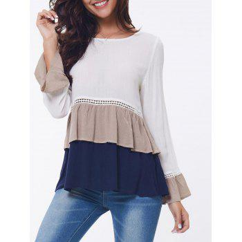 Layered Flounce Lace Insert Long Sleeve Blouse