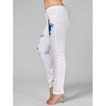 Plus Size Embroidered Ripped Skinny Jeans - 2XL 2XL