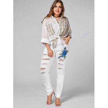 Plus Size Embroidered Ripped Skinny Jeans - WHITE 3XL