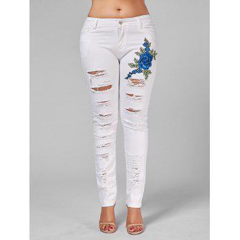 Plus Size Embroidered Ripped Skinny Jeans - 3XL 3XL