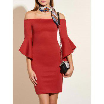 Off The Shoulder Flare Sleeve Pencil Dress