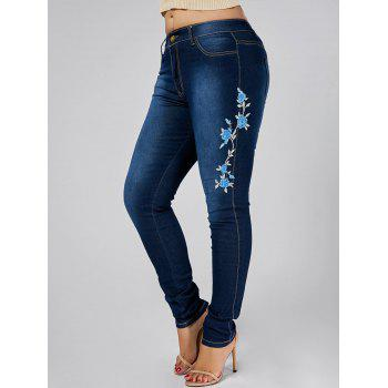 High Waist Plus Size Floral Embroidered Skinny Jeans