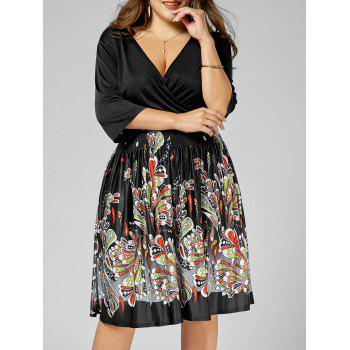 V Neck Printed Plus Size Homecoming Dress