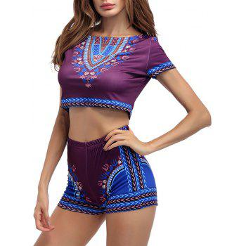 Printed Crop Top With High Waist Shorts - PURPLISH RED XL