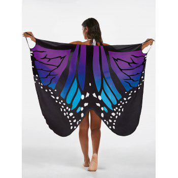 Butterfly Print Beach Wrap Cover Up Dress - BLUE + PURPLE M