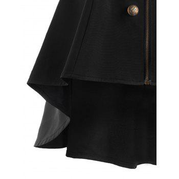 Double Breasted Short Flare Trench Coat - BLACK L