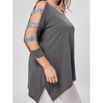 Plus Size Sequined Ladder Cut Top - GRAY XL