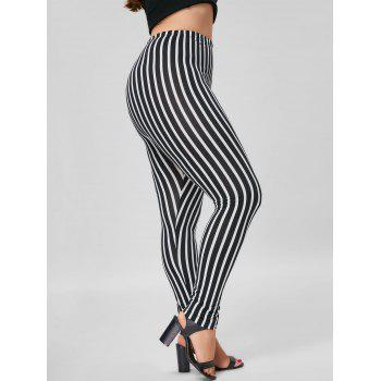 Plus Size Vertical Stripe Skinny Pants - BLACK STRIPE BLACK STRIPE