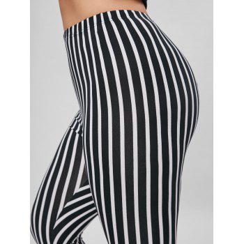 Plus Size Vertical Stripe Skinny Pants - BLACK STRIPE 2XL