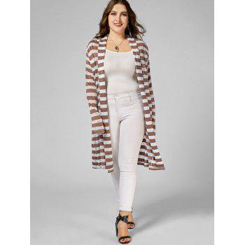 Stripe Open Front Plus Size Longline Coat - Rayure XL