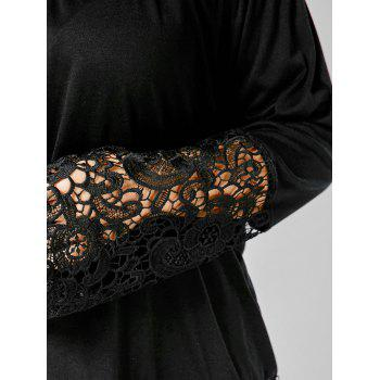 Off The Shoulder Lace Trim Plus Size Top - BLACK BLACK
