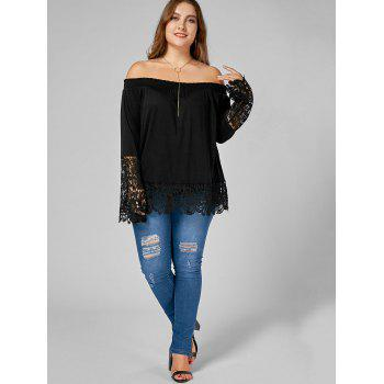 Off The Shoulder Lace Trim Plus Size Top - BLACK 5XL