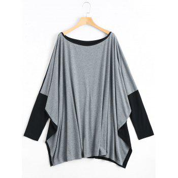 Plus Size Color Block Batwing Long Sleeve T-shirt - GRAY 2XL