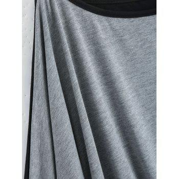 Plus Size Color Block Batwing Long Sleeve T-shirt - GRAY 3XL