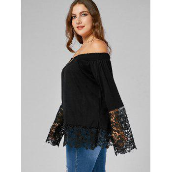 Off The Shoulder Lace Trim Plus Size Top - BLACK XL