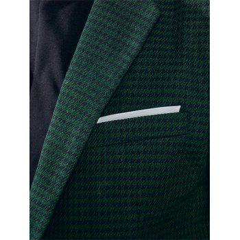 Contrast Two Button Houndstooth Blazer - GREEN L