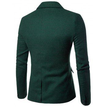 Contrast Two Button Houndstooth Blazer - GREEN 2XL