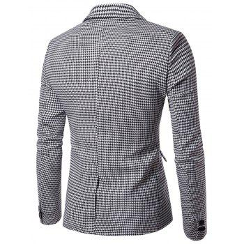 Contrast Two Button Houndstooth Blazer - BLACK WHITE L