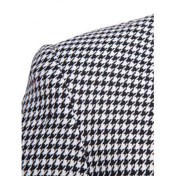Contrast Two Button Houndstooth Blazer - BLACK WHITE M
