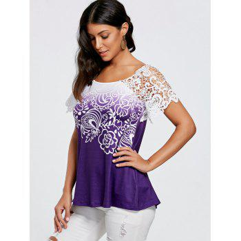 Floral Lace Trim T-shirt - WHITE / PURPLE 2XL