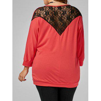Back Lace Insert Plus Size Tee - RED RED