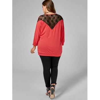 Back Lace Insert Plus Size Tee - RED 3XL