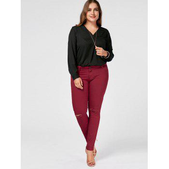 Plus Size Ripped Skinny Jeans - WINE RED WINE RED