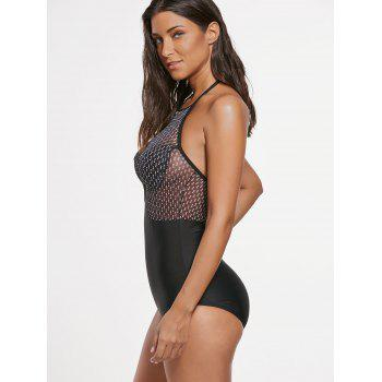 Halter Mesh Insert Push Up Swimwear - BLACK L