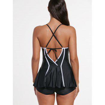 Criss Cross Skirted Push Up Swimsuit - BLACK BLACK
