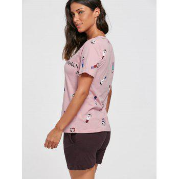 Printed Cotton Pajama T-shirt and Shorts - LIGHT PINK LIGHT PINK