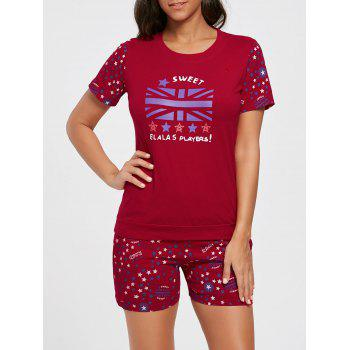 Stars Print Cotton Sleepwear Set - RED RED