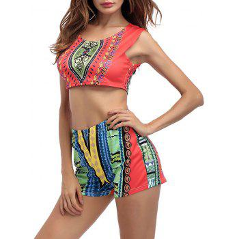 Printed Crop Top With High Waist Shorts - ORANGE RED ORANGE RED