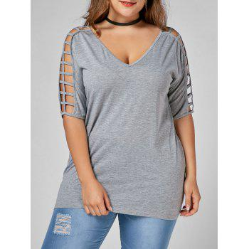 Cut Out V Neck Plus Size Tunic Tee - GRAY GRAY