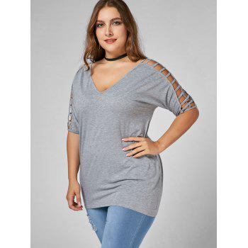 Cut Out V Neck Plus Size Tunic Tee - GRAY 3XL