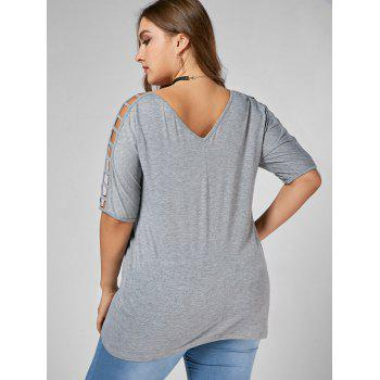 Cut Out V Neck Plus Size Tunic Tee - GRAY 4XL