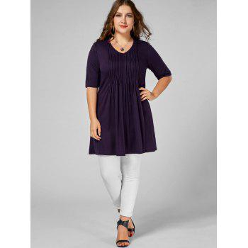 V Neck Plus Size Tunic Tee - DEEP PURPLE 5XL