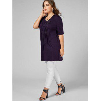 V Neck Plus Size Tunic Tee - DEEP PURPLE XL