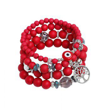 Tree of Life Charm Beaded Bracelets - RED RED