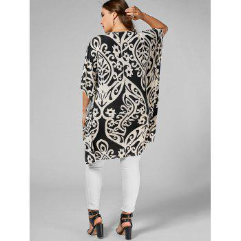 Printed Butterfly Sleeve Plus Size Long Top - FLORAL 4XL