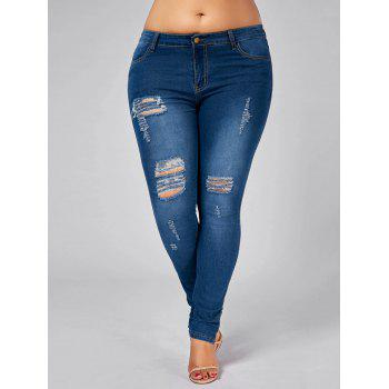 Plus Size Zip Leg Ripped Tight Jeans - DENIM BLUE 3XL