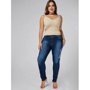 High Waist Plus Size Floral Embroidered Skinny Jeans - DENIM BLUE 5XL