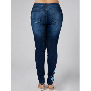 High Waist Plus Size Floral Embroidered Skinny Jeans - DENIM BLUE 4XL