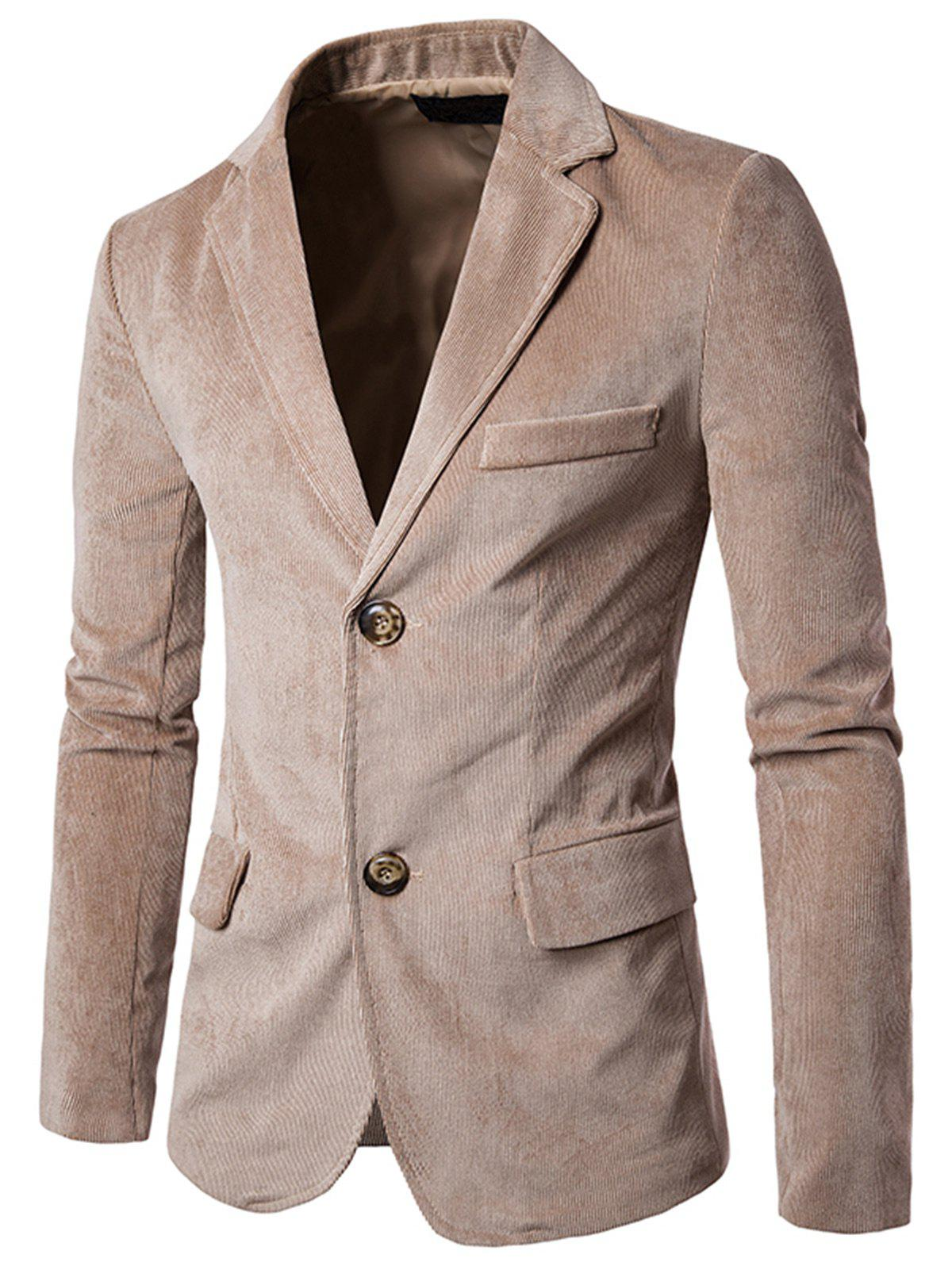 Flap Pockets Notch Lapel Corduroy Casual Blazer - CAMEL L