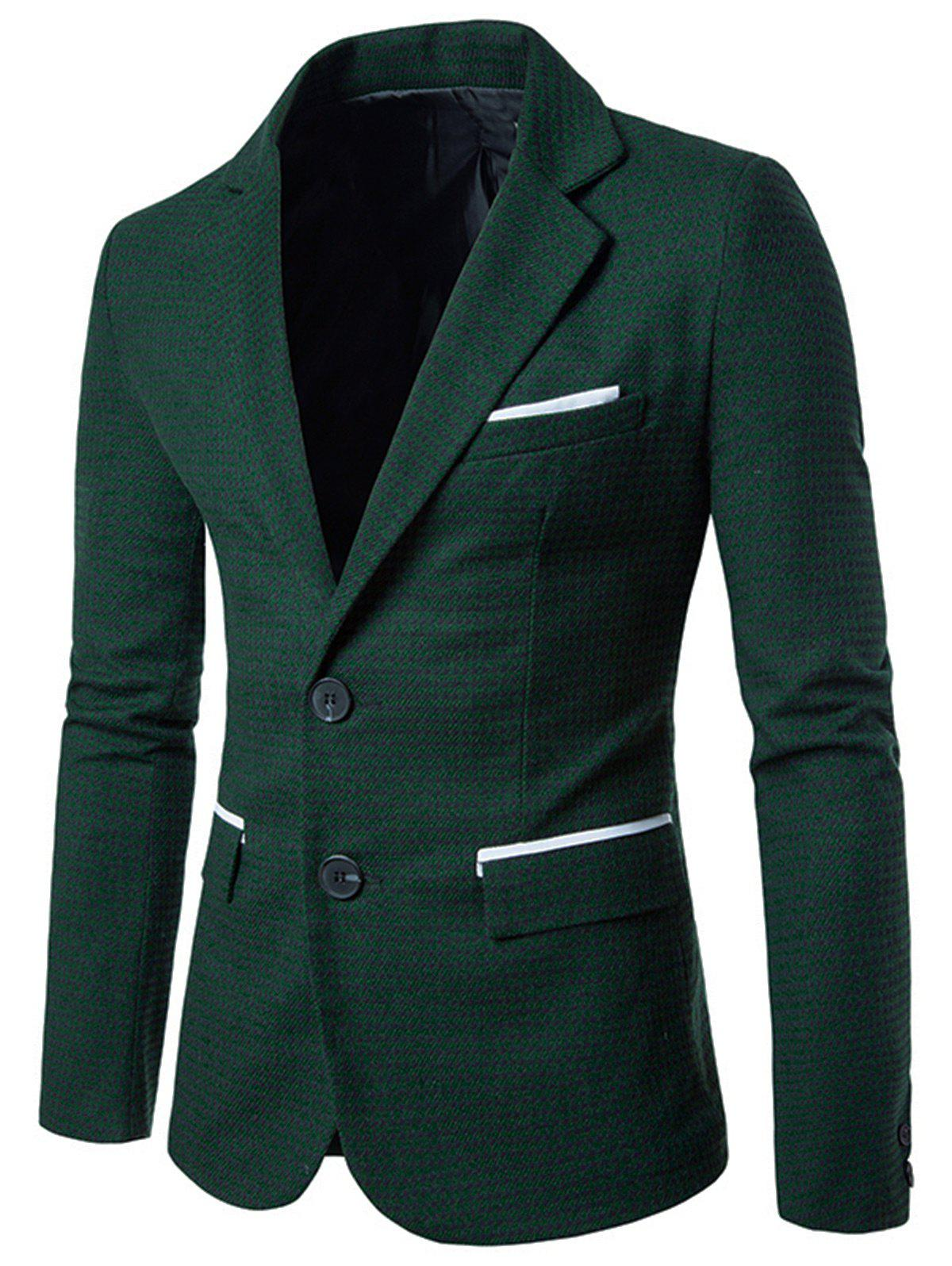 Contrast Two Button Houndstooth Blazer - GREEN M