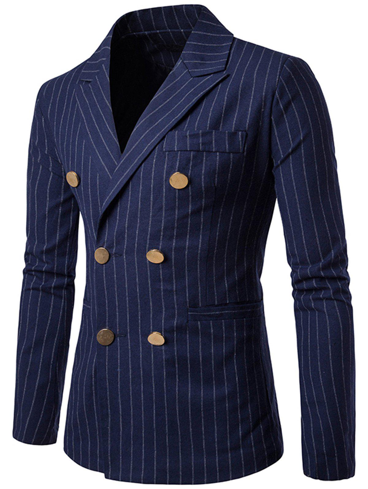 Vertical Stripe Peaked Lapel Casual Blazer - CADETBLUE 2XL