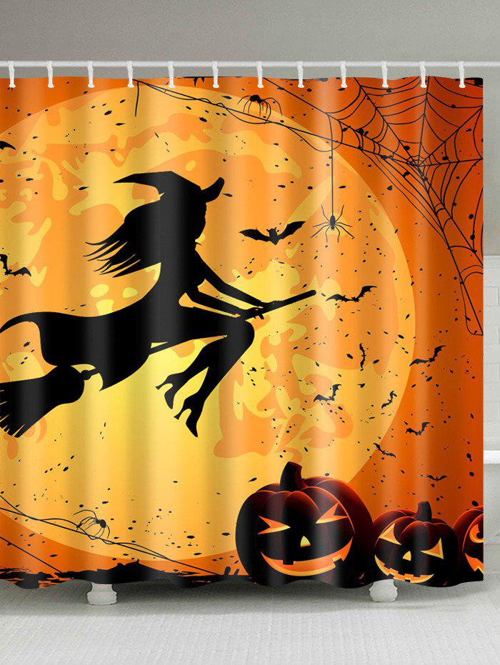 Eco Friendly Fabric Halloween Witch Shower Curtain   BRIGHT ORANGE W71 INCH  * L79 INCH