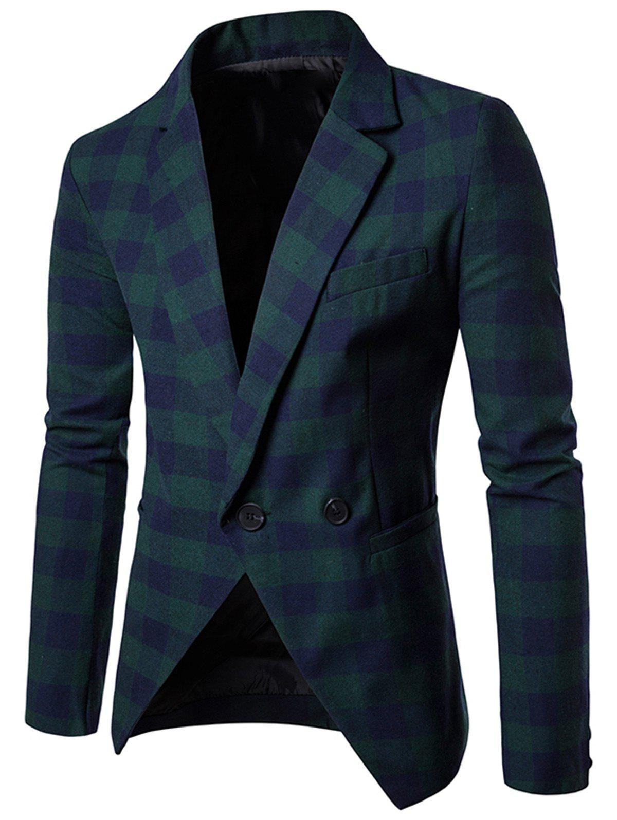 One-button Notch Lapel Plaid Casual Blazer - GREEN 2XL